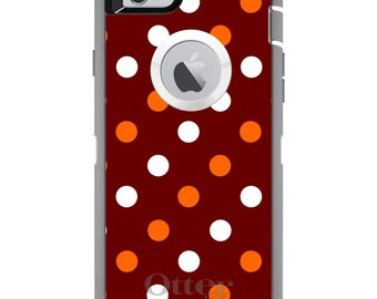 Custom OtterBox Defender Case for Apple iPhone 6 6S 7 8 PLUS X 10 - Monogram - Virginia Tech University VT Hokies Colors - Polka Dots