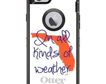 Custom OtterBox Defender Case for Apple iPhone 6 6S 7 8 PLUS X 10 - Monogram - Florida UF Gators Colors - In All Kinds of Weather