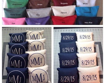 8 CORNHOLE BAGS Custom Embroidered: Front Monogramed Initials / Back with Date