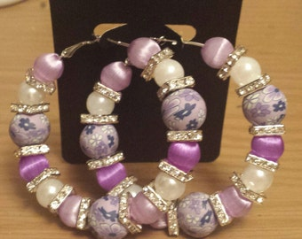 Poparazzi inspired purple/Lavender  floral silk hoop