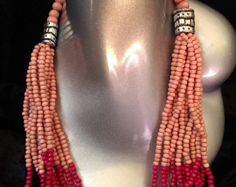 Long Tribal Style Beaded Necklace
