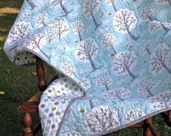 "Backyard Baby ""Windy Day"" gender neutral quilt aqua & gray 42x42.  Made to order."