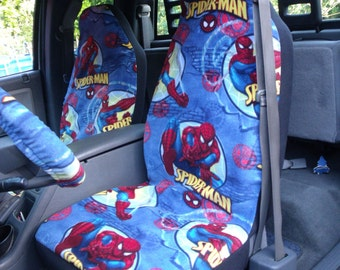 1 Set of Spider Man Print and Steering Wheel Cover Custom Made.