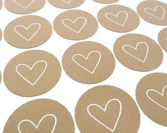 Heart Sticker - 80 Count - Kraft Sticker - Round Sticker - White Ink - Heart Label - Wedding Favor Sticker - Gift Label