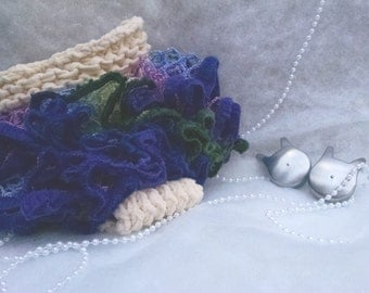 Ruffled Diaper Cover - Ivory w/ Blue/Green/Purple (photo prop, photography, or everyday!)