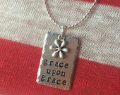 "grace upon grace, stamped necklace, john 1:16, scripture necklace, 24"", Personalized metal stamped necklace, Love Squared designs"