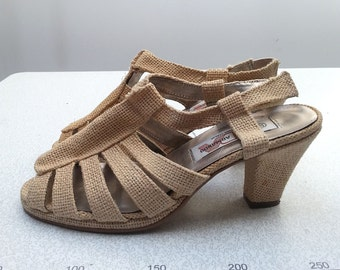 80s CANVAS strappy peep toe SANDALS with heel strap slingback bare foot diego armando / Size 6 us / 3.5 uk / 36 eu