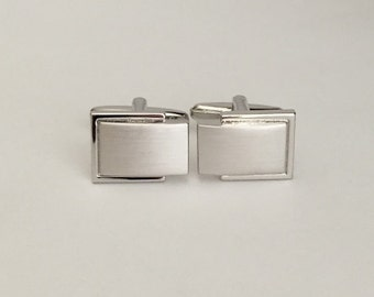 Engraved Rectangle Cufflinks. Monogrammed Silver Brush Cuff Links. Custom Engraved Bridal Gift. Men Gift. Father of The Bride. Groom.Wedding