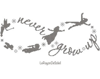 Peter Pan cross stitch pattern Infinity symbol and text never grow up Peter Pan Wendy and Co flying with stars Disney PDF Instant download.