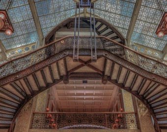 The Floating Stairs - The Rookery - Chicago - LaSalle - Architecture - Burnham and Root - Frank Lloyd Wright - Staircase - Cast Iron - Oriel