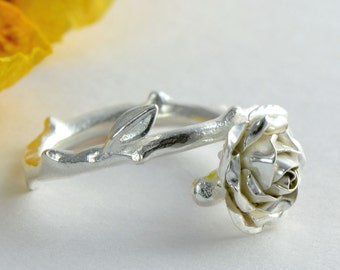 Silver Rose Ring - Sterling Silver Flower Engagement Ring - Floral Statement Ring