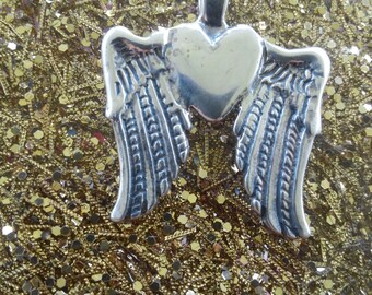 Silver Heart and wings pendant