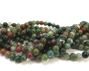 Fancy Jasper Beads, Natural Multi-Colored Jasper Strand, 6mm Green Beads, 16 inch Strand, Beading Supplies, Item 606pm