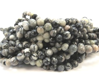 Black Silk Stone Beads, Natural 4mm Round, 16 inch Strand, 4mm Black and White Beads, Beading Supplies, Item 629pm