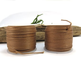 Light Brown Waxed Cotton Cord, 1mm Cotton Cord, 5 yards Light Brown Cord, Cotton Necklace Cord, Item 639ct