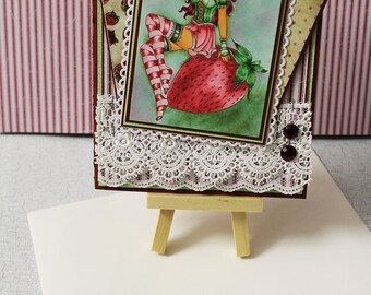 Stawberry Witch  -  Handmade Greeting Card