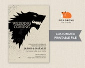 Wedding is Coming (Game of Thrones) printable engagement party invitation / Customized digital file (5x7) / Printing service available in US