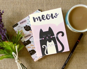 "Set of 2 pocket notebooks / ""Kitties"" / blank pages / hand bound with thread / gift"