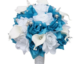 "10"" Bouquet with Silver Accents - Choose the Bouquet Colors - Artificial Flowers"