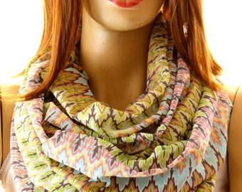Tribal Chevron Soft Cotton Infinity Scarf Loop scarf Circle scarf Women Scarf scarves Accessories Circle scarf Colorfull scarf Fashion