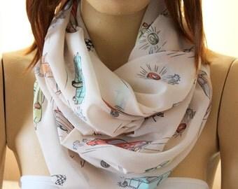 Cars printed scarf - infinity scarf - loop scarf -  print scarves -  scarf -  infinity scarves - Summer Scarves - Spring Scarves