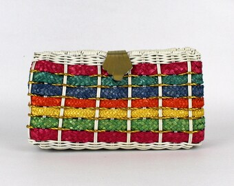 Wicker Handbag - Multicolor Rainbow Purse - Vintage 1970s Chain Strap Bag