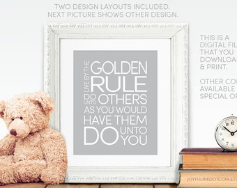 Inspirational Wall Art: Golden Rule Printinable for Nursery. Digital Download. 2 Designs.  Do unto others as you would have them do unto you