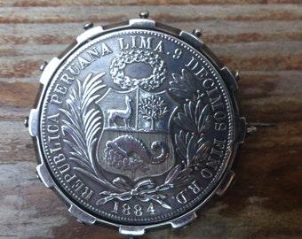 1884 Peru .9 silver coin brooch