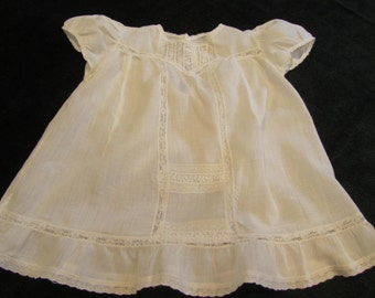 vintage baby dress, circa 1940, handworked, french seams and lace inserts, totally precious