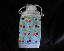 Crochet Top Towel ~ Kitchen Towel ~ Hanging Towel ~ RV Decor ~ Kitchen Decor ~ Cherries ~ Kitschy Kitchen ~ Housewarming Gift ~ Retro Decor