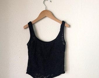 90s goth stretch lace SHEER tank