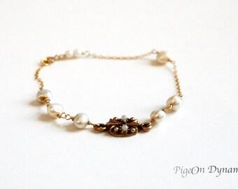 Dainty Fresh Pearls Gold Filled Bracelet with Vintage Charm-Delicate Pearl Gold Bracelet- Upcyled Pearl Bracelet-June Birthstone