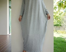 Oversize Fashion Women V-Neck Light Heather Grey Rayon Spandex Cocoon Maxi Dress Women Tops D027 - Size 6 To 1X