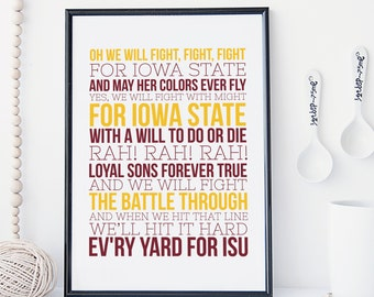 Iowa State - Fight, Fight, Fight for Iowa State - Fight Song Print - Football Print - Collegiate Typography - Iowa State Cyclones