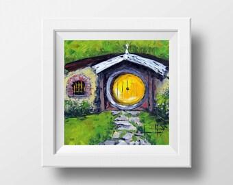 Lord of the Rings Print, Hobbit House Art, Giclee, Hobbiton, 12 x 12, Hobbit Door, Hobbit Hole Signed Print by New Zealand Artist Lisa Elley