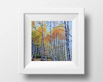 Lake Tahoe, Print, Tahoe Art, Giclee, Tahoe, Birch Trees, South Lake Tahoe, Tahoe Painting, 8x8, 10x10, 12x12, Print, Winter, Mountains Fall