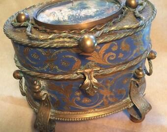 Victorian Jewelry Box Enameled Footed Fancy Brass