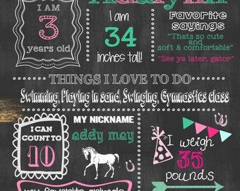 Cowgirl Horse Pony Birthday Chalkboard Sign Birthday Chalkboard Sign Girl Birthday Sign