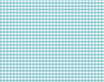 Aqua Blue Small (1/8 inch) Gingham Fabric by Riley Blake. Perfect for baby, nursery, quilts & more.  100% cotton c440-20