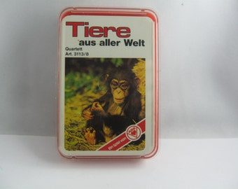 Animals from all over the world: Quartet & Trump (card game). 3113/8. By ASS Altenburger playing cards from Germany. Probably 70s. VINTAGE