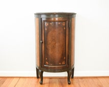 antique small cabinet, antique cabinet, wonderful early 20th c. American made hand painted demilune cabinet w/center door, antique furniture