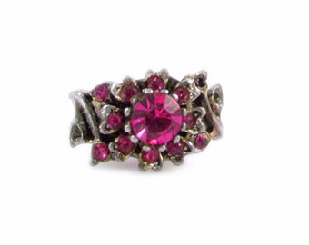 Pink Rhinestone Flower Adjustable Ring