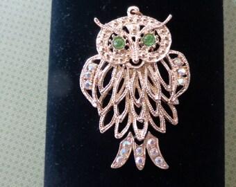 Vintage Owl Pendant Large Articulated Gold Tone Green Rhinestone Eyes Aurora Borealis