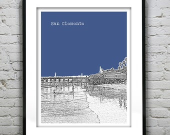 San Clemente California Skyline Poster Print Art California CA