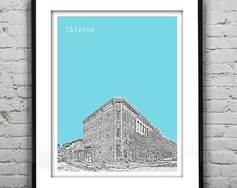 Clinton Skyline Poster Print Art New York NY