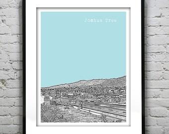 Joshua Tree Skyline Poster Art Print California CA