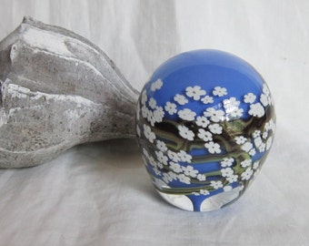 Signed Peter Raos Glass Paperweight