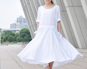 Loose Fitting Midi Dress Big Swing White Dress Long Linen Dress (339 )