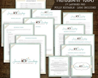 Cream and Blue Photography Forms and Contracts - camera logo included - INSTANT DOWNLOAD