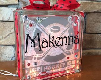 Ice Hockey Center Ice GemLight, Hockey Gift, Hockey Decor, Sports decor, Personalized